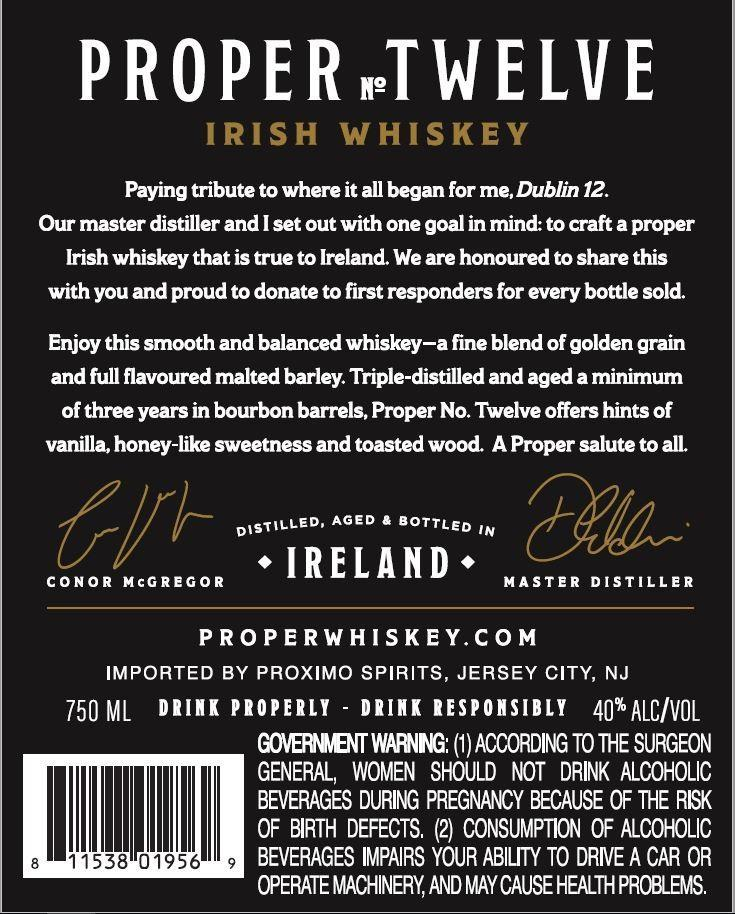 Proper No. Twelve Irish Whiskey Irish whiskey Proper No. Twelve