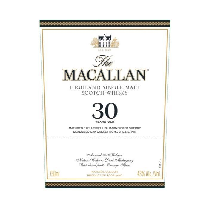 The Macallan 30 Year Old Sherry Oak 2019 Release Scotch The Macallan