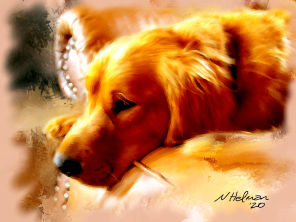 Painting of a Golden Retriever lounging on an armchair