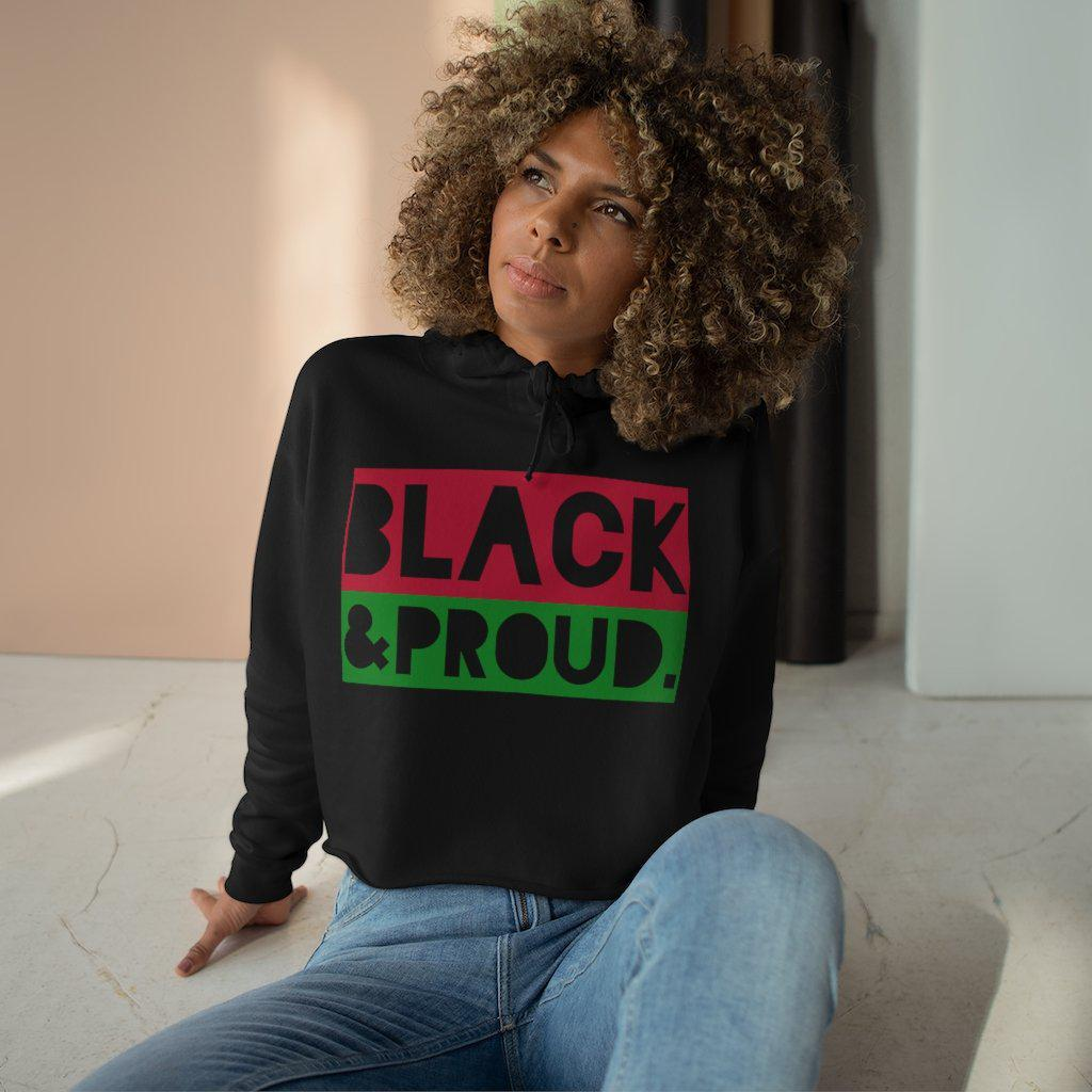 Black and Proud Crop Hoodie-Hoodie- Ébène Apparel