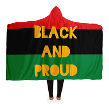Load image into Gallery viewer, Black and Proud-Hooded Blanket - AOP- Ébène Apparel