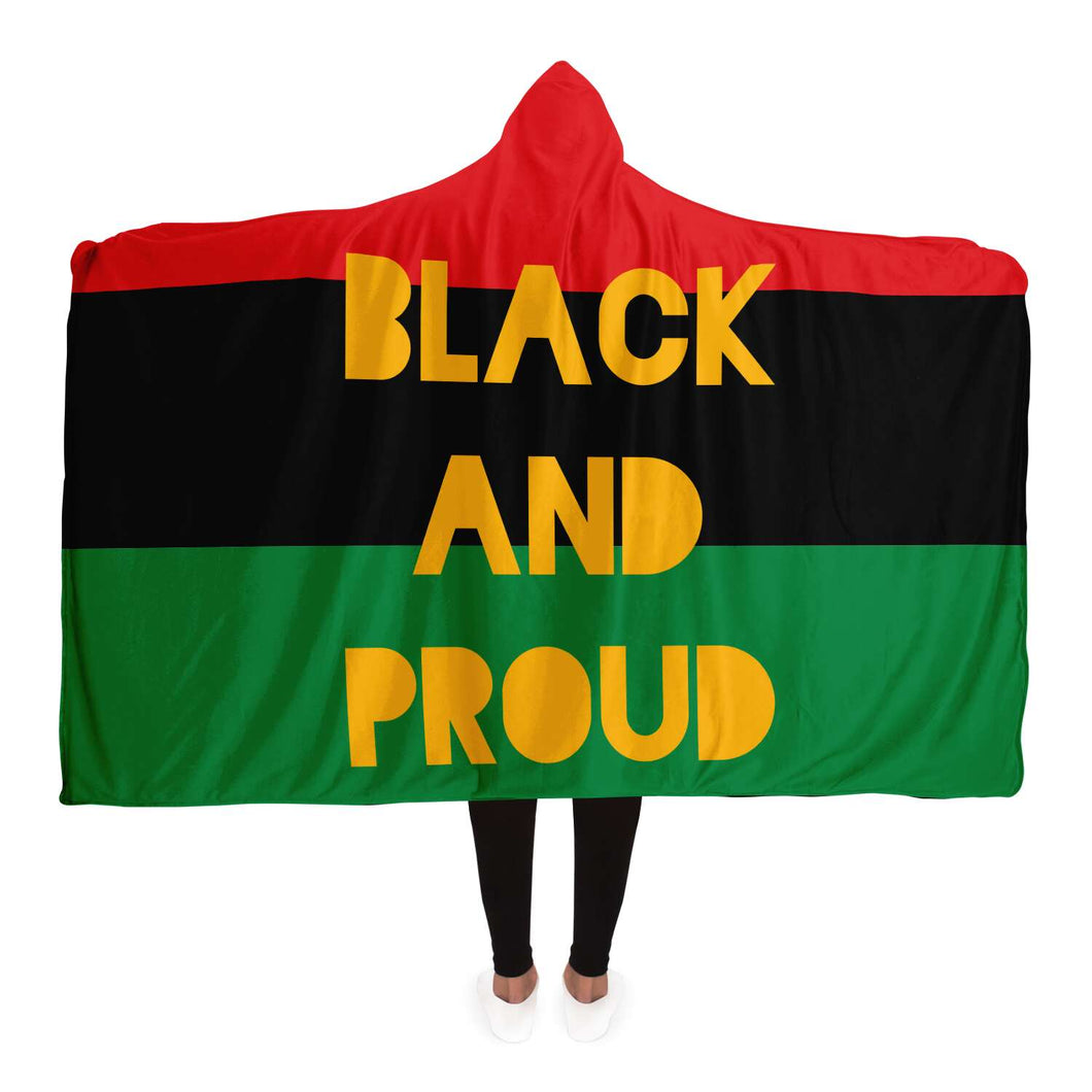 Black and Proud-Hooded Blanket - AOP- Ébène Apparel