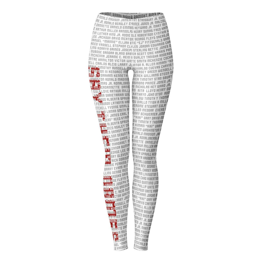 Say Their Name (Red and White)-Leggings- Ébène Apparel