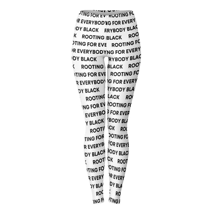 Rooting for Everybody Black (White)-Leggings - AOP- Ébène Apparel