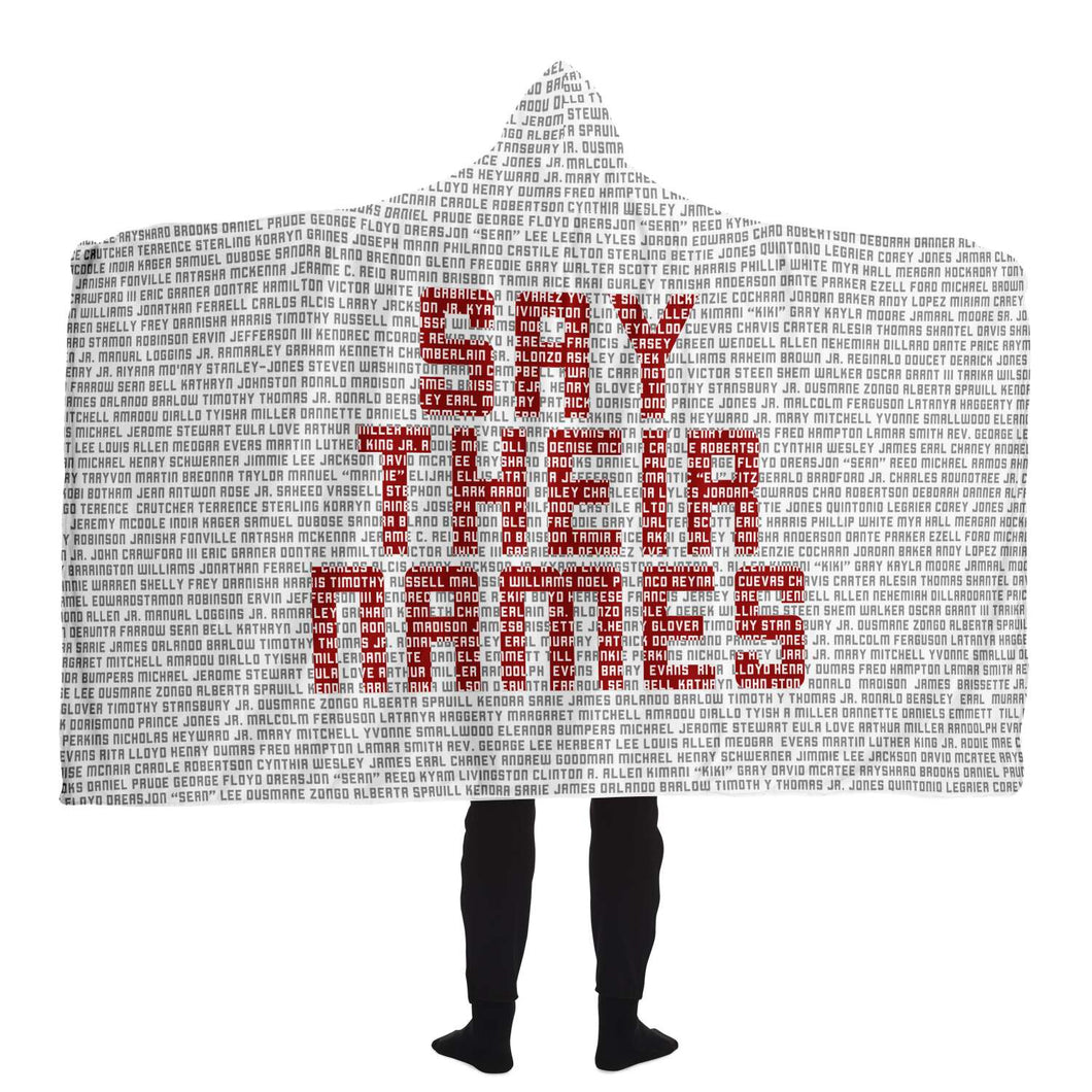 Say Their Names Hooded Blanket (WHITE)-Hooded Blanket - AOP- Ébène Apparel