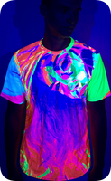Neon Lime T Shirt Glow in Ultraviolet Fluorescent Model April