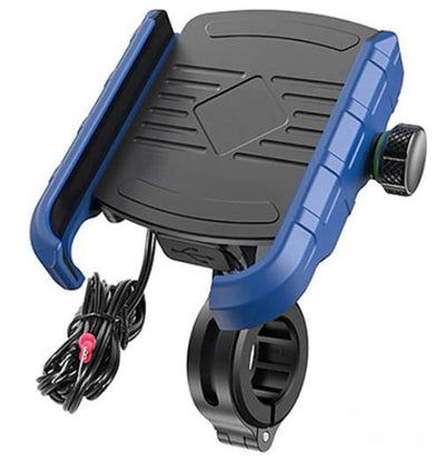 Support Telephone Moto Chargeur Bleu