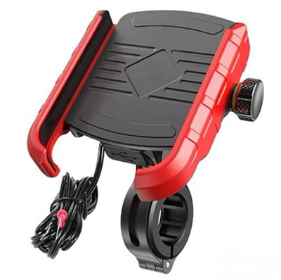 Support Telephone Moto Chargeur Rouge