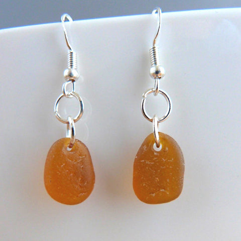 Amber seaglass earrings Earrings
