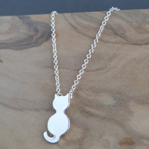 Silver cat necklace Necklace