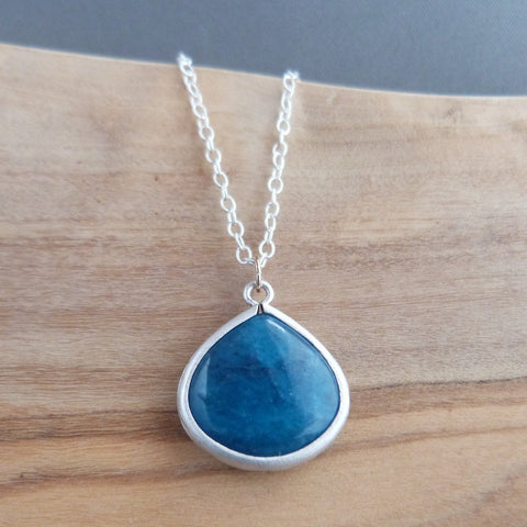 Dark blue teardrop pendant necklace Necklace