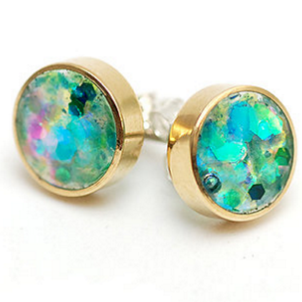 Turquoise glittery earrings
