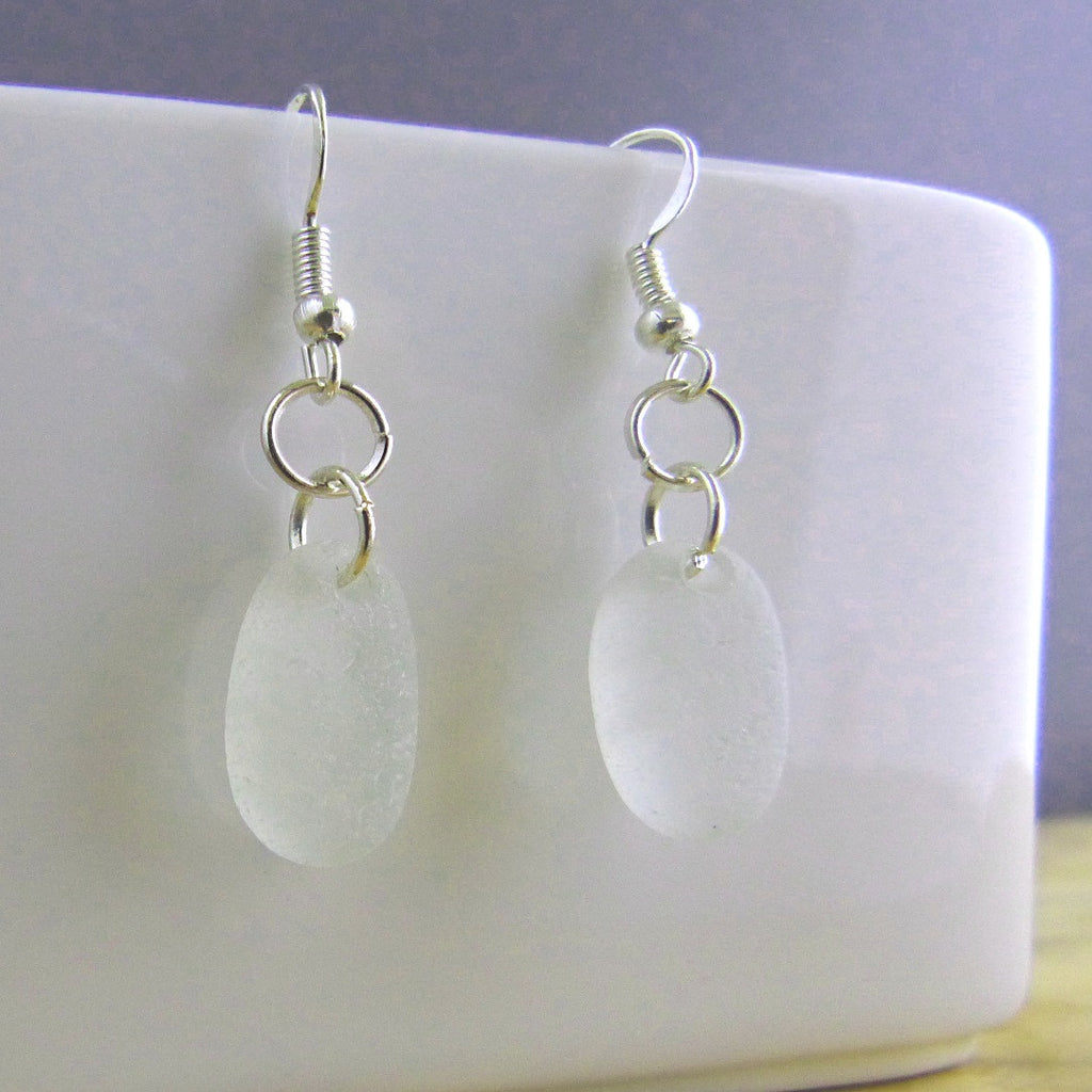 Frosted white seaglass earrings