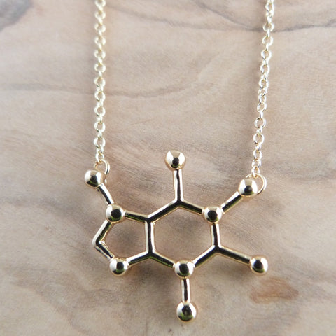 Gold plated caffeine necklace Necklace