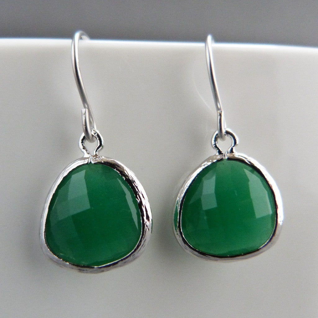 Ivy green silver drop earrings Earrings