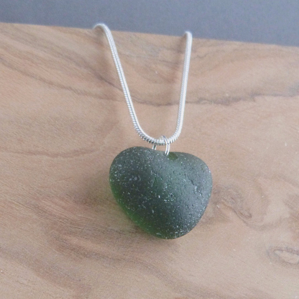 Deep green seaglass necklace Necklace