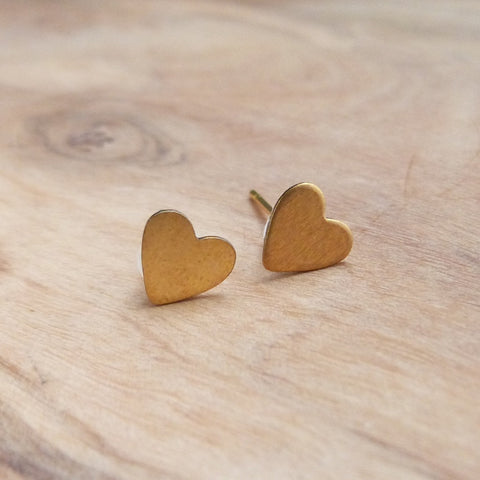 Gold heart stud earrings Earrings