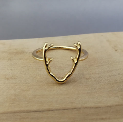 Gold stag ring