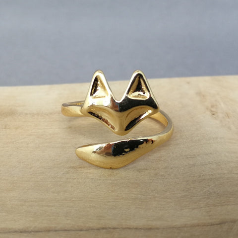 Gold wrap around fox ring