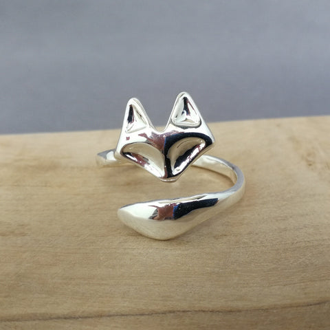 Silver wrap around fox ring