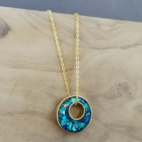 Indigo glitter necklace