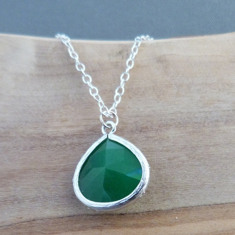 Ivy green teardrop pendant necklace Necklace
