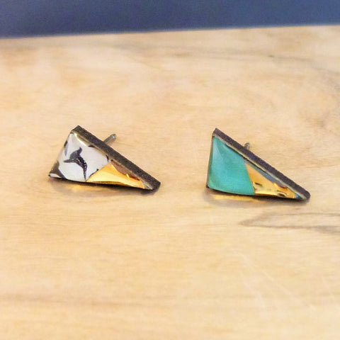 Green geometric triangle studs