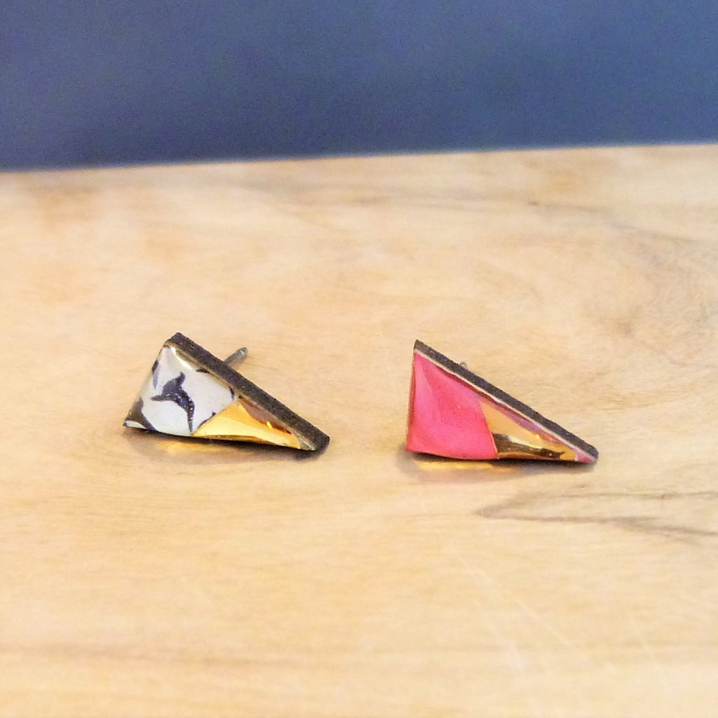 Pink geometric triangle studs