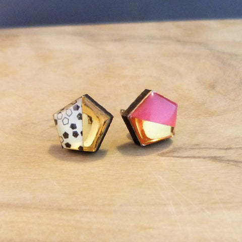 Pink geometric hexagon studs