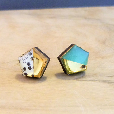 Green geometric hexagon studs