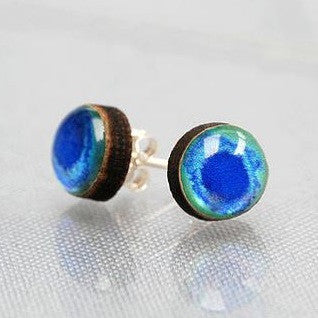 Peacock blue watercolour stud earrings Earrings