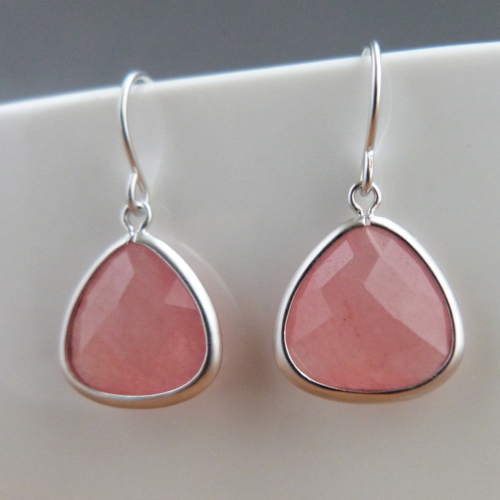 Pink Earrings, Sterling Silver, salmon pink teardrop drop earrings Earrings