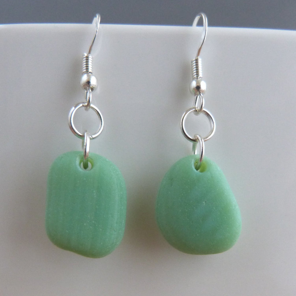 Seafoam green seaglass earrings