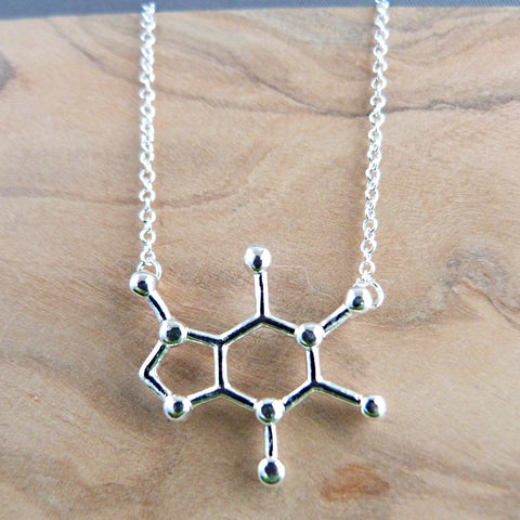 Silver plated caffeine necklace Necklace