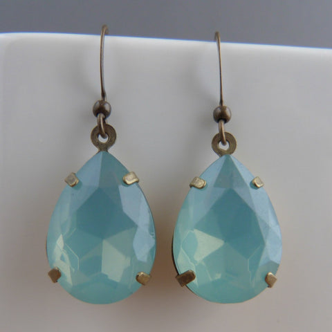 Mint green opal drop earrings Earrings