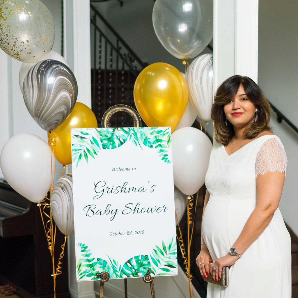Tropical Greenery, Marble and Gold Baby Shower