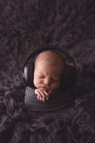 baby photo with headphones