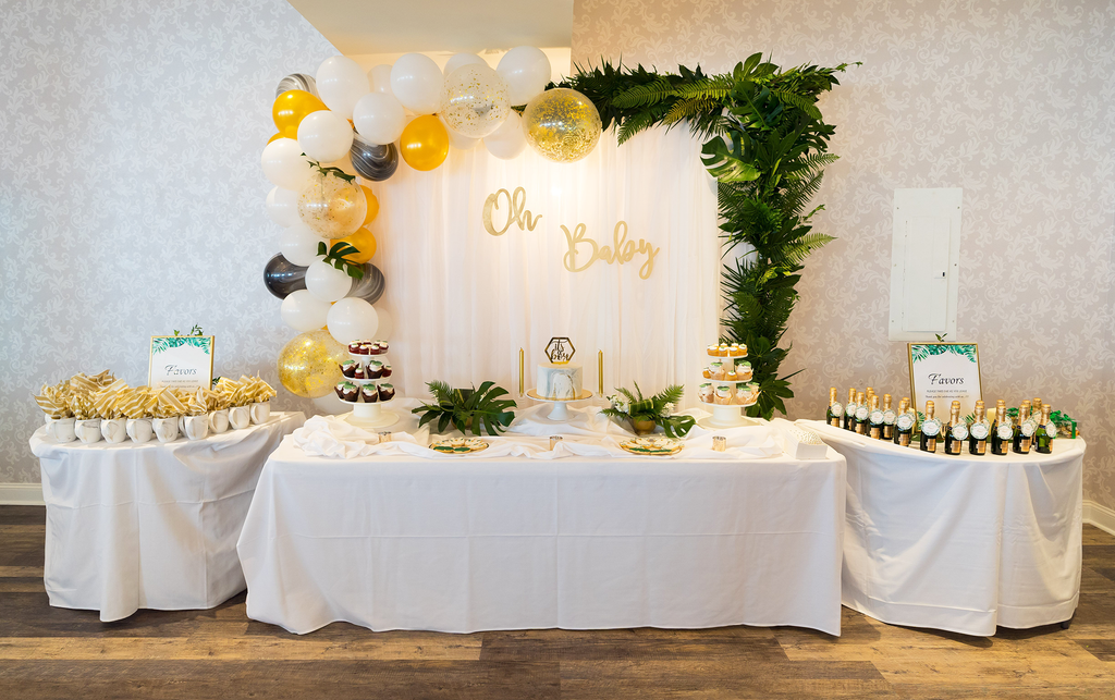 modern tropical gold baby shower