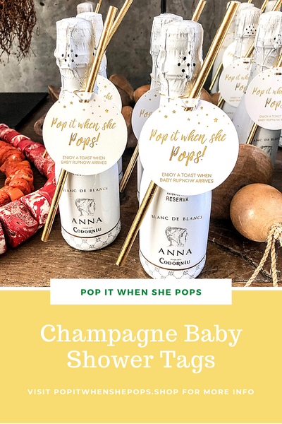 Gender Neutral Champagne Baby Shower Tags