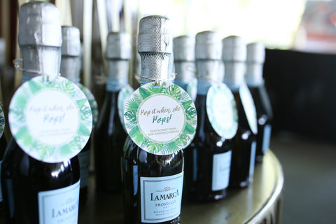 champagne baby shower favors tropical