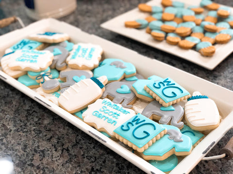 Baby shower sugar cookies for a boy