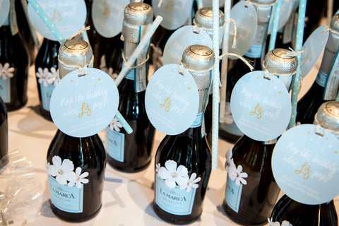 champagne baby shower favors for a boy