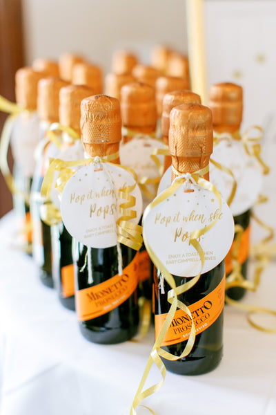 Pop It When She Pops champagne baby shower tags