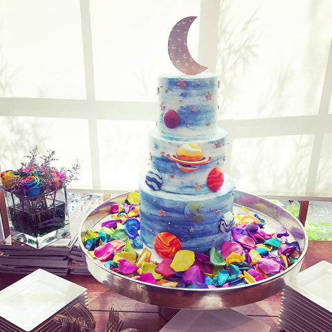 Out of this world baby shower celestial cake