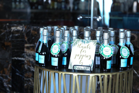 mini champagne baby shower favors