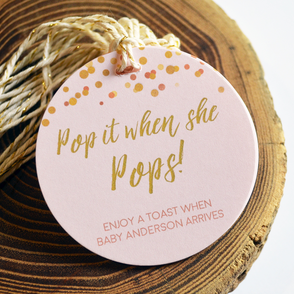Pop It When She Pops - Baby Shower Tags - Confetti