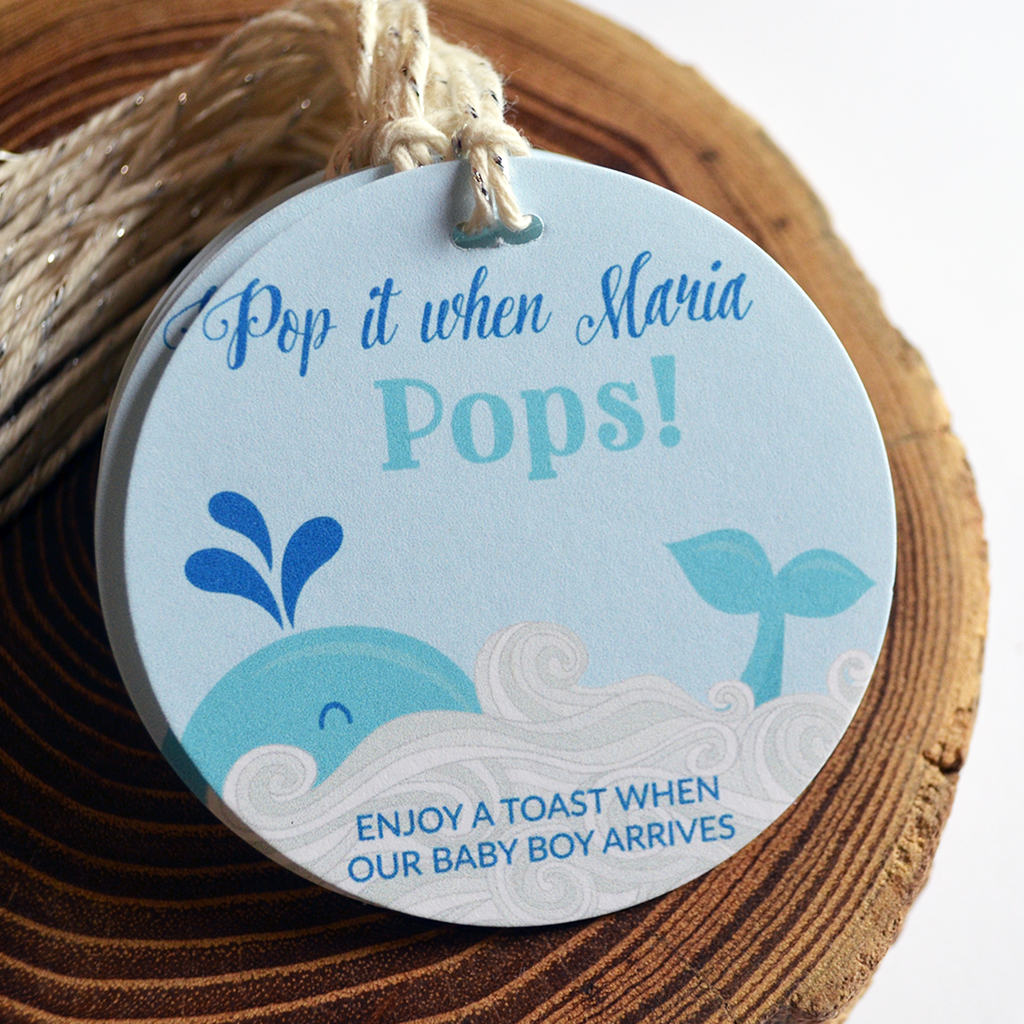 Pop It When She Pops - Baby Shower Tags - Nautical Whale