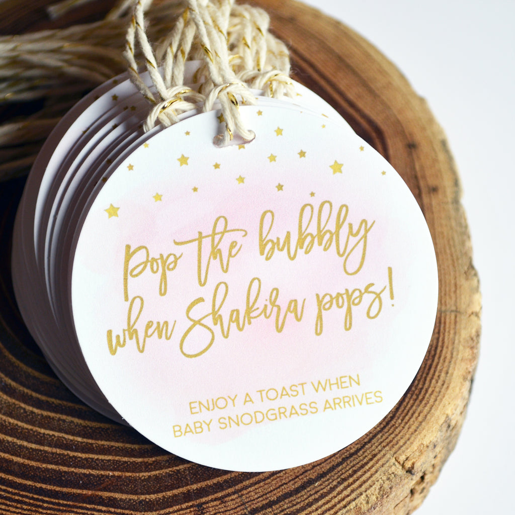 Pop It When She Pops - Baby Shower Tags - Pink Watercolor