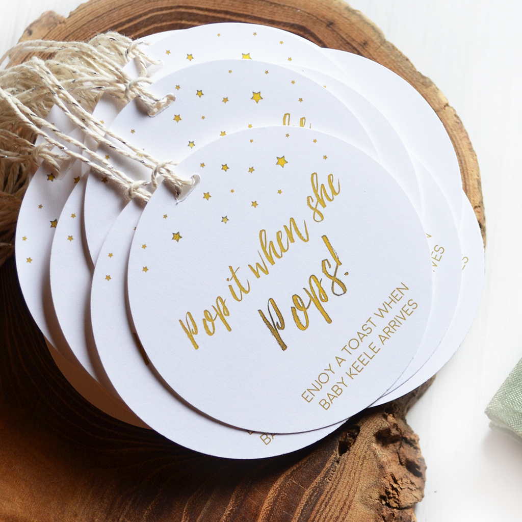 Pop It When She Pops - Baby Shower Tags - White and Gold