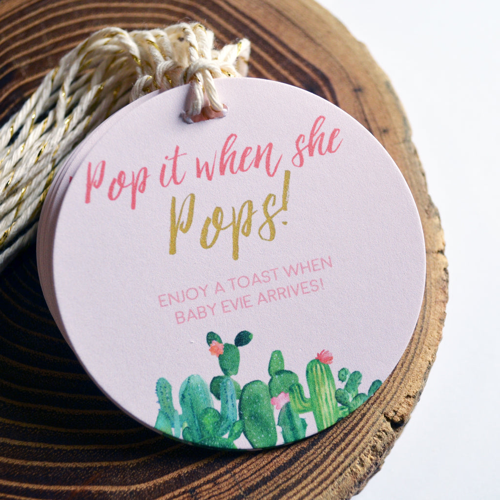 Pop It When She Pops - Baby Shower Tags - Cactus